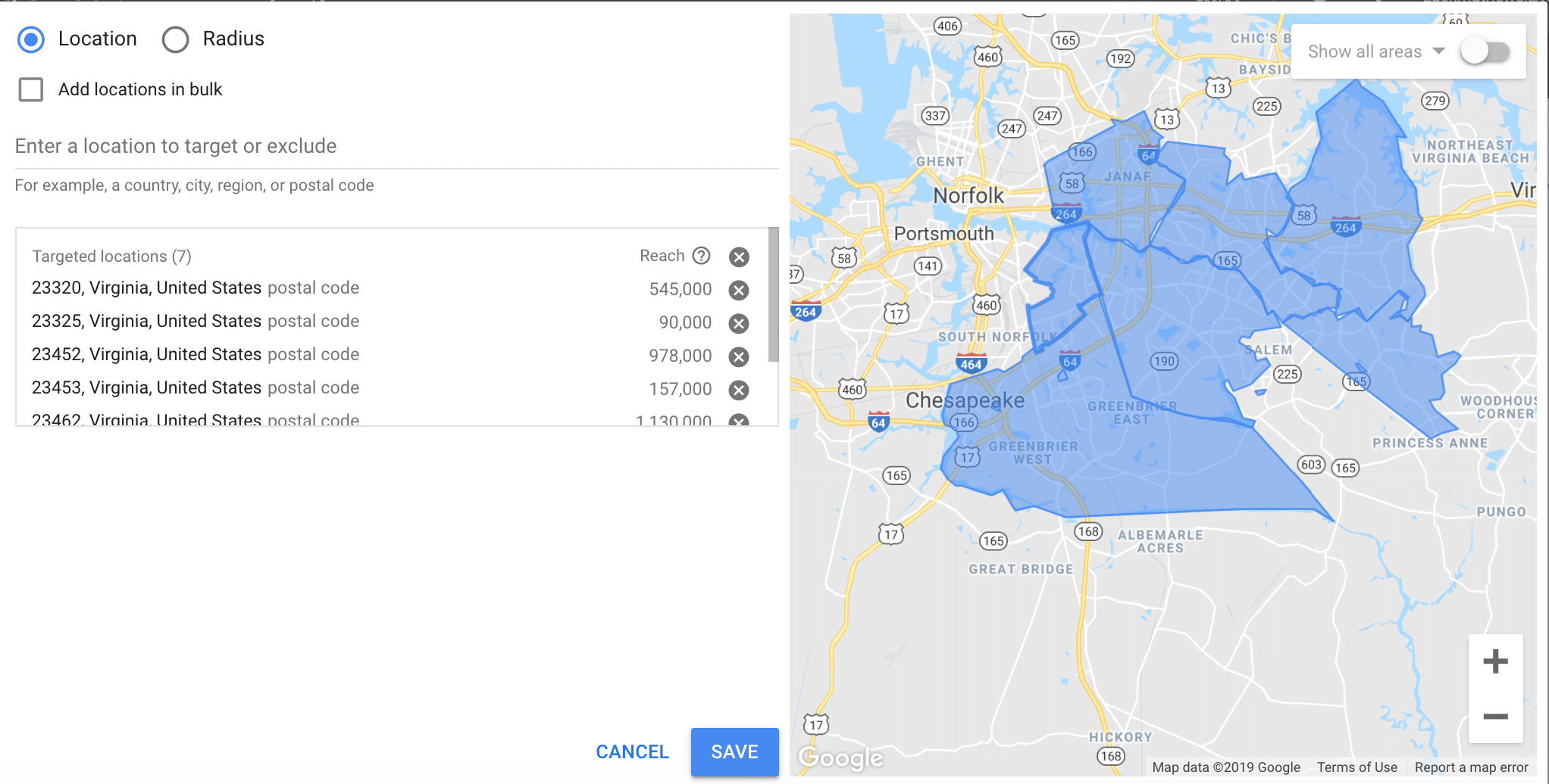 Google ads for personal trainers location search